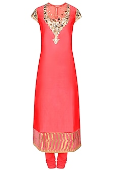 Red Hand Embroidered And Sequins Kurta Set