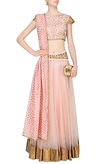Baby Pink Floral Embroidered And Banarsi Boota Applique Lehenga Set by JJ Valaya