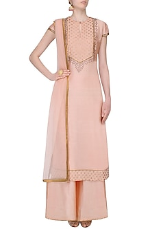 Pink Thread Embroidered And Banarsi Boota Applique Kurta Set With Palazzo Pants by JJ Valaya