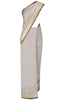 Grey Mukesh Work Boota Applique Saree With Jewel Neck Blouse