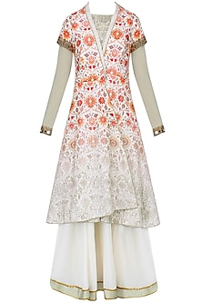 Green And White Kalidaar Anarkali Set With Floral Printed Overlap Jacket