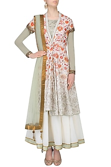 Green And White Kalidaar Anarkali Set With Floral Printed Overlap Jacket by JJ Valaya