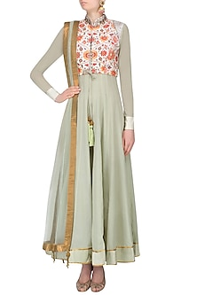 Green Floral Printed Anarkali Set With Floral Printed And Mukesh Work Jacket by JJ Valaya