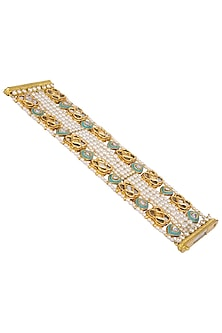 Gold Plated Turquoise Meena Jadtar Bracelet by Just Jewellery