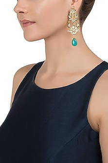 Gold Plated Blue Stone Earrings by Just Jewellery