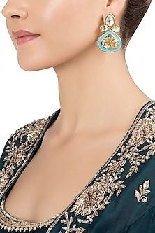 Gold Plated Blue Meenakari Jadtar Earrings