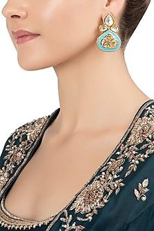 Gold Plated Blue Meenakari Jadtar Earrings by Just Jewellery