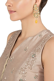 Gold Plated Yellow Stone Earrings