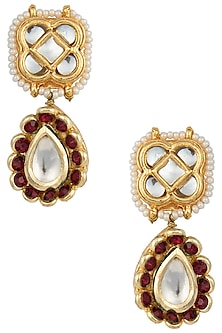 Gold Plated Red Stone Earrings by Just Jewellery