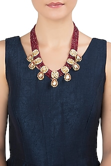 Gold Plated Red Beads Necklace