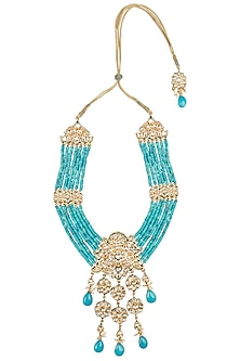 Gold Plated Turquoise Bead Necklace by Just Jewellery
