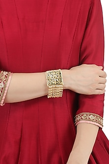 Gold Plated Green Thewa and Jadtar Bracelet by Just Jewellery