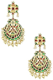 Gold Plated Red and Green Stone Chandbali Earrings by Just Jewellery