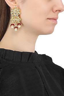 Gold Plated Flower Motif Jadtar Earrings by Just Jewellery