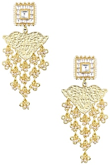 Gold Plated Kundan Carved Earrings by Just Jewellery