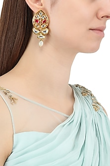 Gold Plated Leaf Motif Jadtar Earrings by Just Jewellery