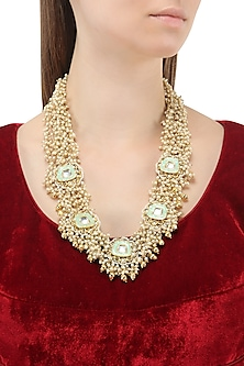 Gold Plated Turquoise Polki Jadtar Necklace