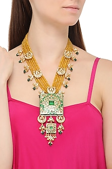 Gold Plated Green Thewa and Yellow Beads Necklace
