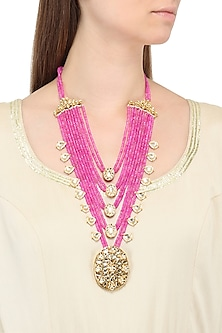 Gold Plated Jadtar and Pink Beads Necklace by Just Jewellery
