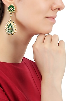 Gold Plated Green Jadtar and Thewa Earrings by Just Jewellery