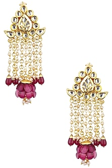 Gold Plated Red Flower Motif and Stones Jhumki Earrings by Just Jewellery
