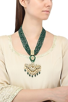 Gold Plated Jadtar and Green Stone Necklace