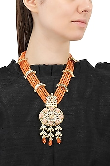 Gold Plated Jadtar and Orange Beads Necklace