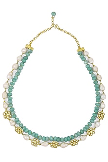Gold Plated Jadtar and Blue Beads Necklace by Just Jewellery