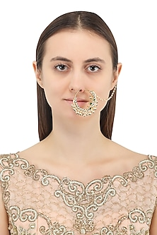 Gold Plated Jadtar and Green Stone Nosering
