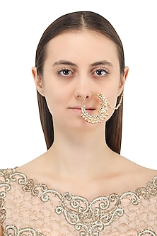 Gold Plated Jadtar and Red Beads Nosering