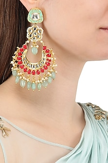 Gold Plated Jadtar and Stones Chandbali Earrings