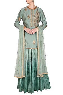 Turquoise Green Embroidered Lehenga Set by Joy Mitra