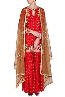 Red Embroidered Gharara Set by Joy Mitra
