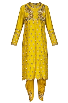 Lemon Yellow Embroidered Kurta Set by Joy Mitra