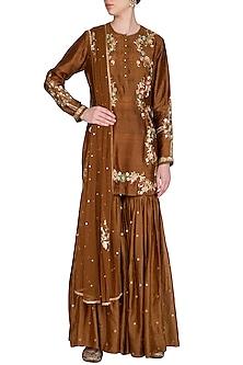 Brown Embroidered Gharara Set by Joy Mitra