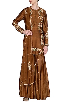 Brown Embroidered Gharara Set by Joy Mitra