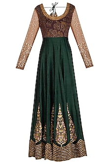 Green Embroidered Anarkali With Dupatta by Joy Mitra