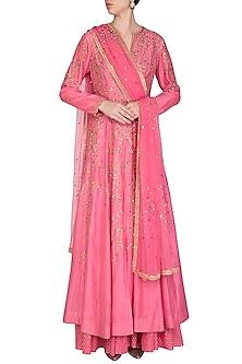 Pink Embroidered Anarkali Lehenga Set by Joy Mitra