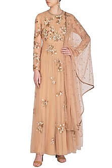 Peach Embroidered Anarkali With Dupatta by Joy Mitra