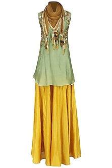 Green Embroidered Short Kurta With Skirt and Scarf Set