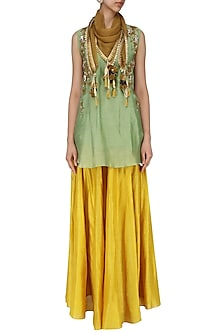 Green Embroidered Short Kurta With Skirt and Scarf Set by Joy Mitra