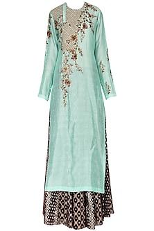 Mint Green Kurta With Skirt Set by Joy Mitra