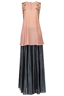 Peach Embroidered Short Kurta With Skirt Set