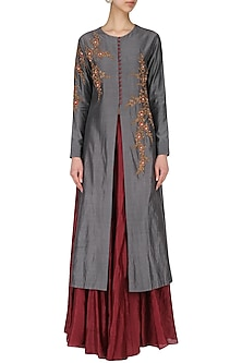 Grey Embroidered Jacket with Skirt by Joy Mitra