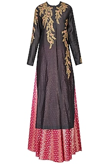 Grey Embroidered Kurta With Skirt Set