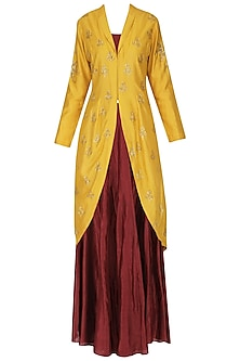 Yellow Embroidered Jacket with Skirt by Joy Mitra