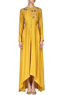 Yellow Embroidered Tunic by Joy Mitra