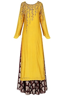 Yellow Embroidered Kurta With Skirt Set