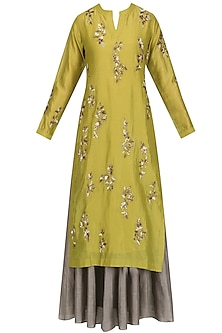 Gold Floral Embroidered Kurta and Skirt Set