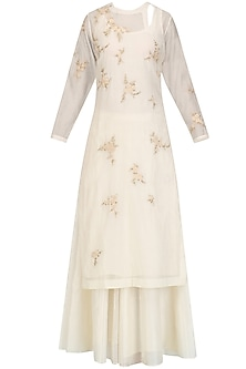 Cream Floral Embroidered Kurta and Skirt Set